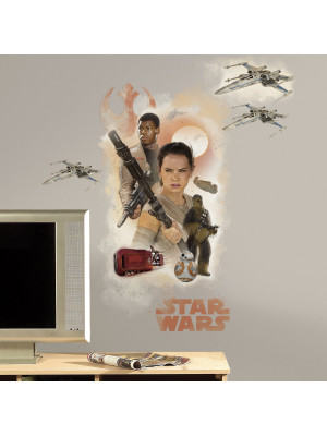 Stickers géant Star Wars Rey & Finn