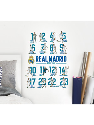 Stickers 16 Joueurs Real Madrid 12X18 cm
