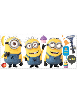 3 stickers Geants repositionnables Les Minions H 46 cm