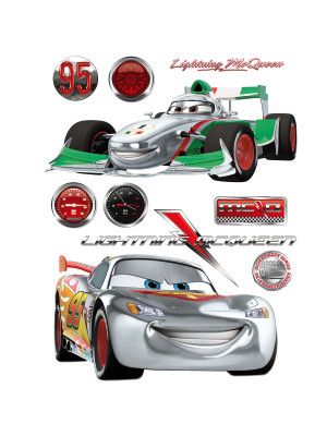 Stickers géant Cars Flash McQueen & Francesco Bernoulli Silver Disney