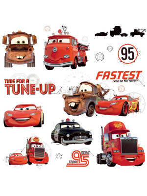 Stickers repositionnables Flash McQueen et ses amis Disney Cars 25,4CM X 45,7CM