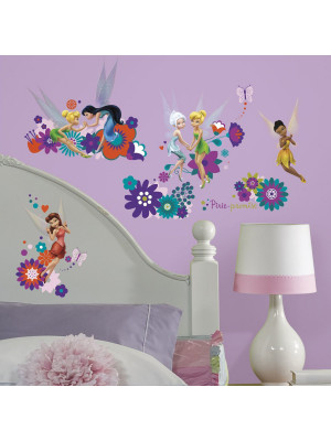 18 Stickers Fée Clochette Disney Fairies Flowers Repositionnables