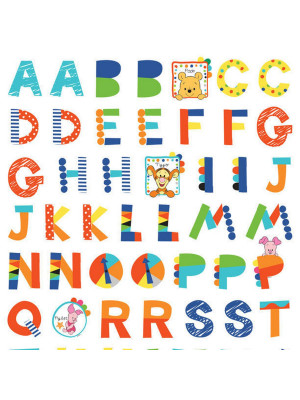Stickers géant Winnie l'Ourson Alphabet Disney