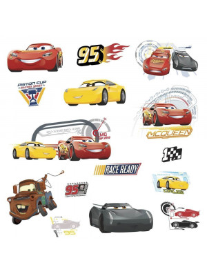 Stickers repositionnables Cars avec Flash McQueen Martin et ses amis de Disney 25,4CM X 45,7CM