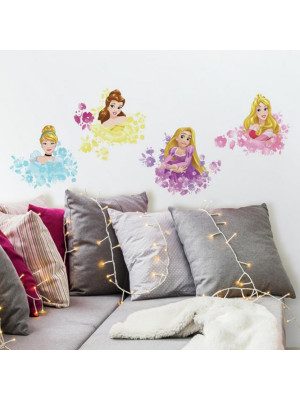 4 Stickers Géants Princesses Disney Floral Repositionnables