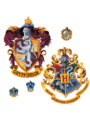 Sticker geant repositionnable Blasons Griffondor et Poudlard Harry Potter 45,7CM X 101,6CM