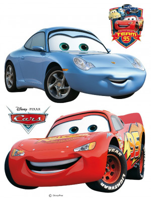 Stickers géant Cars Flash McQueen et Sally