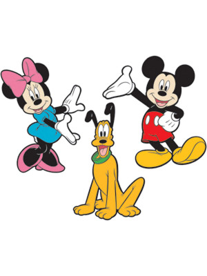 3 Stickers Mickey Mouse & Minnie & Pluto 3D Relief Mousse