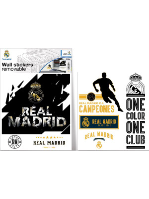 Sticker Logo Noir et Or Real Madrid 40X50 cm