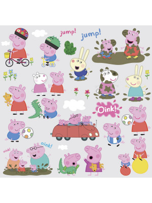 Stickers repositionnables Peppa Pig 25,4CM X 45,7CM