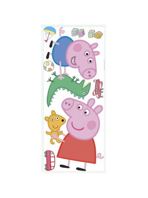Sticker géant repositionnable Peppa Pig et George Pig 45,7CM X 101,6CM