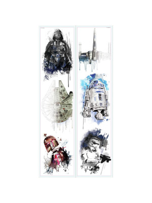 Stickers repositionnables Star Wars façon aquarelle 21,9CM X 92,7CM