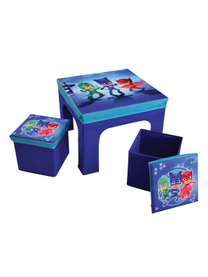 Table + 2 tabourets pliables pyjamasques bleu