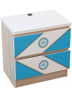Table de chevet avec 2 USB Olympique de Marseille collection Saint Charles 45X44X30 CM