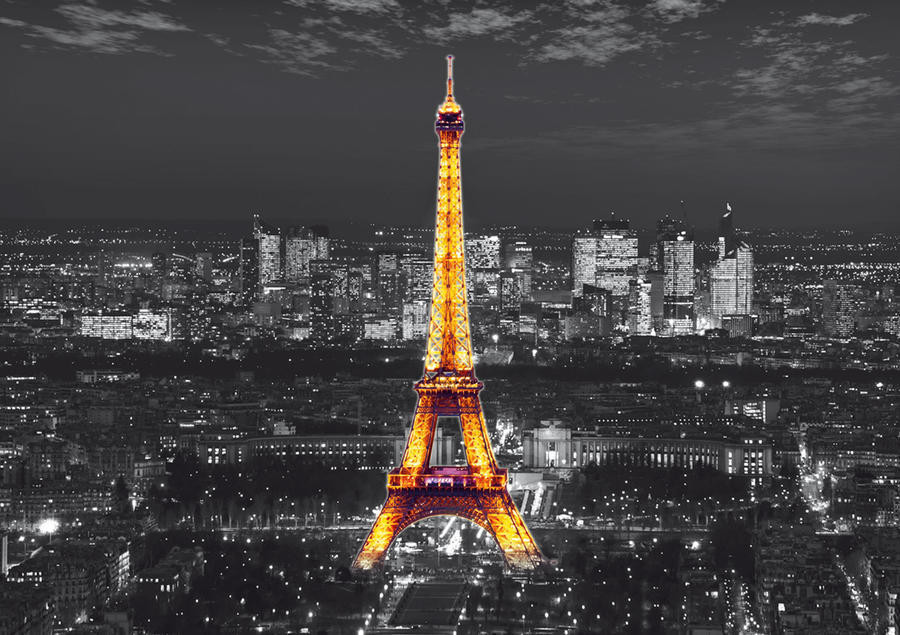 Eiffel tower at night, photo murale, 360x254 cm, 4 parts