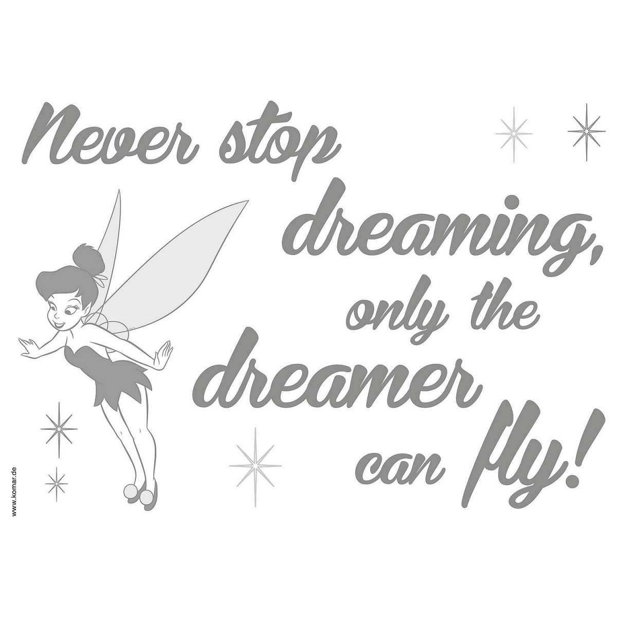 """Stickers phrase Fée Clochette """"Never Stop Dreaming"""" Disney"""