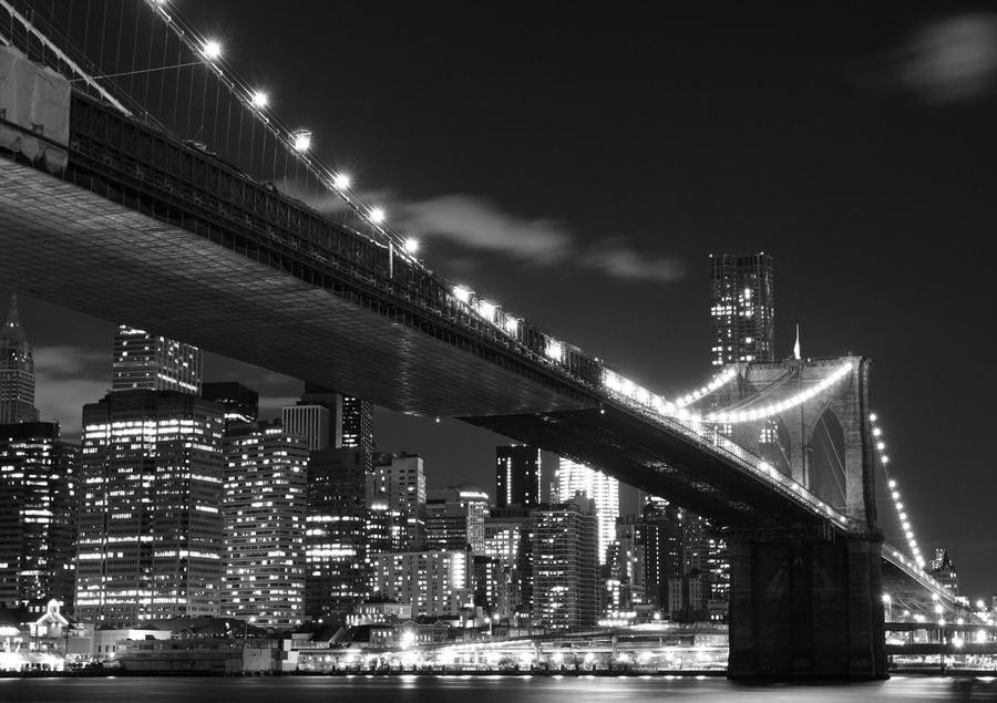 Papier Peint New York Brooklyn Bridge Noir Blanc 360x270 cm