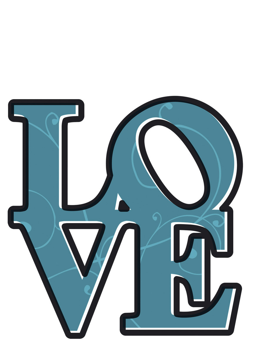 Love, Sticker murale - 50x70 cm