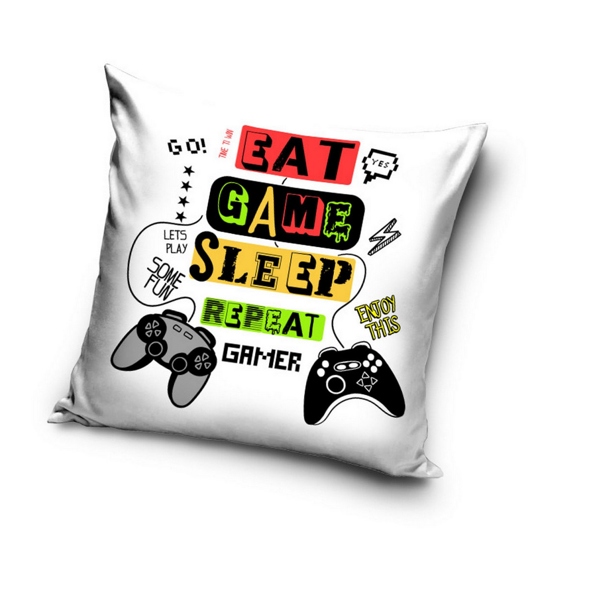 """Coussin Gamer """"Eat, Game, Sleep, Repeat"""" manettes de type Playsation  40x40cm"""