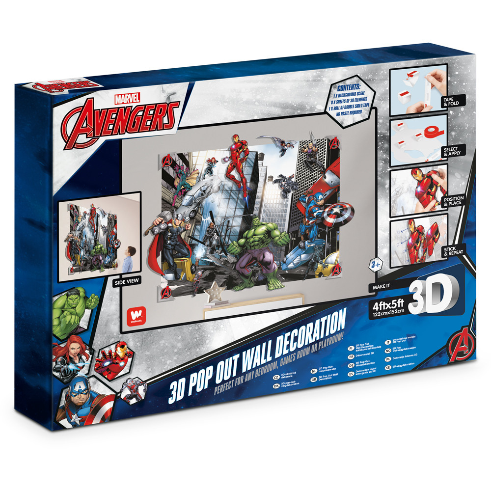 Poster XXL avec personnages en relief  Avengers Marvel 3D pop out 122X152 cm