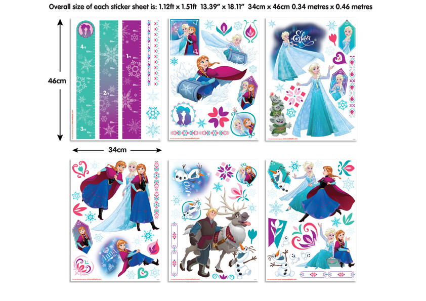 88 Stickers La Reine des Neiges Disney Frozen Walltastic