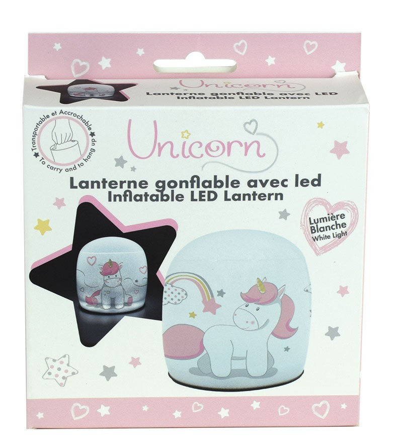 lampe gonflable LED licorne emaballage