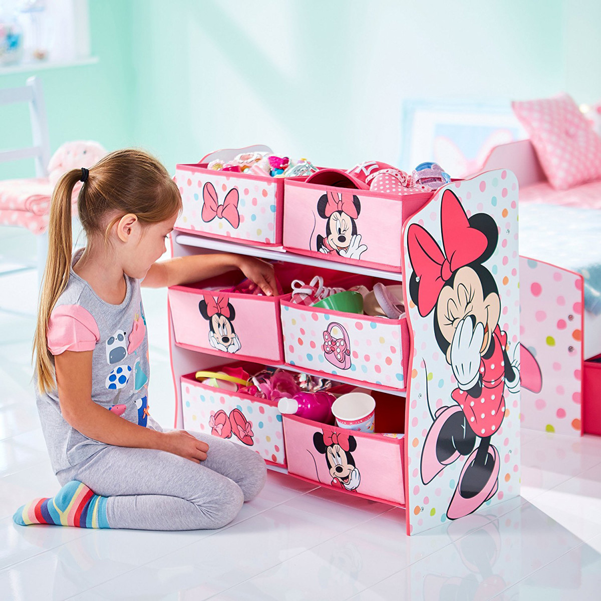 meuble rangement rose 6 casiers motif Minnie Mouse de Disney