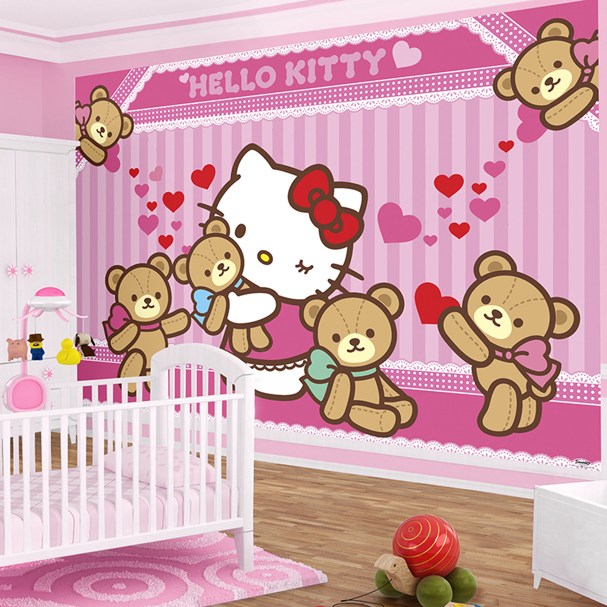 Papier Peint Ourson Hello Kitty Intissé - 104 x 70,5 cm