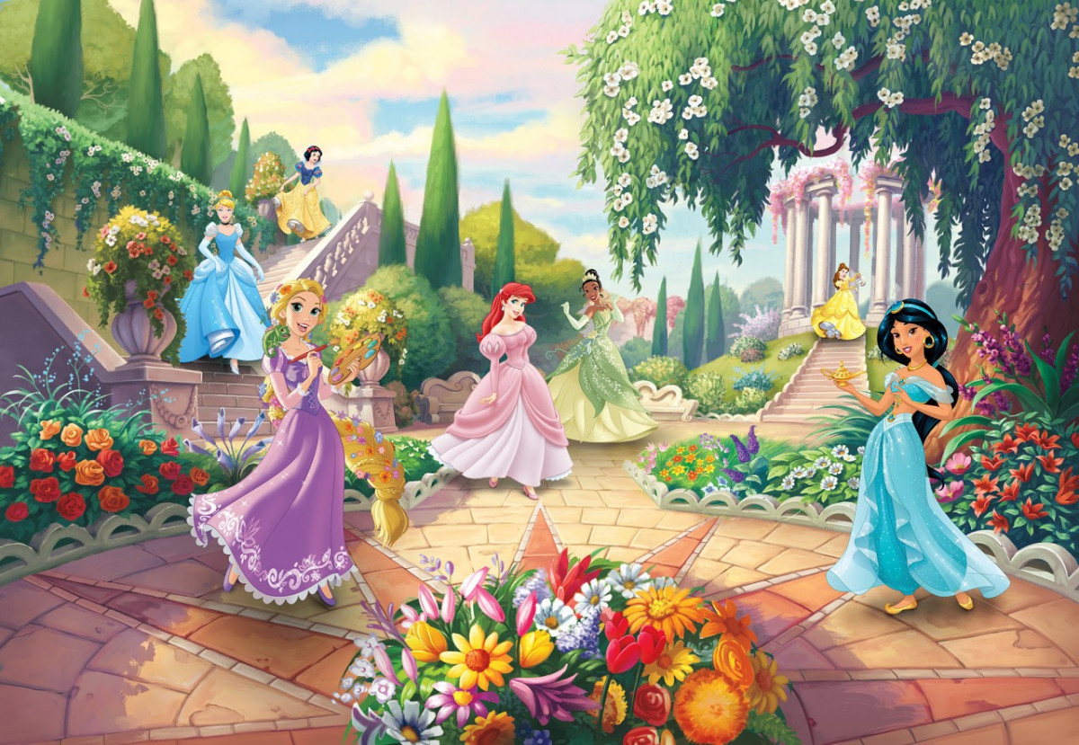 Papier peint Photo Princesses Disney au parc