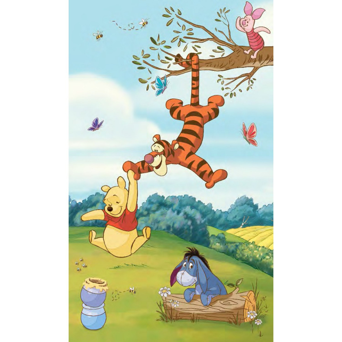 Poster sticker géant panorama Winnie l'ourson Disney L 91 cm H 152 cm