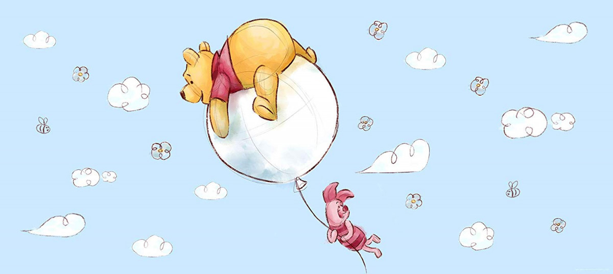 Poster géant Winnie l'Ourson Ballon Disney intisse 202X90 CM