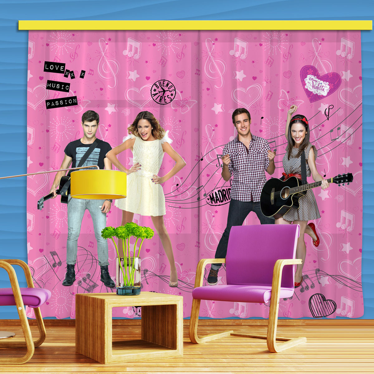 Rideaux Rose Violetta Disney Channel-Occultant : 280x245 cm