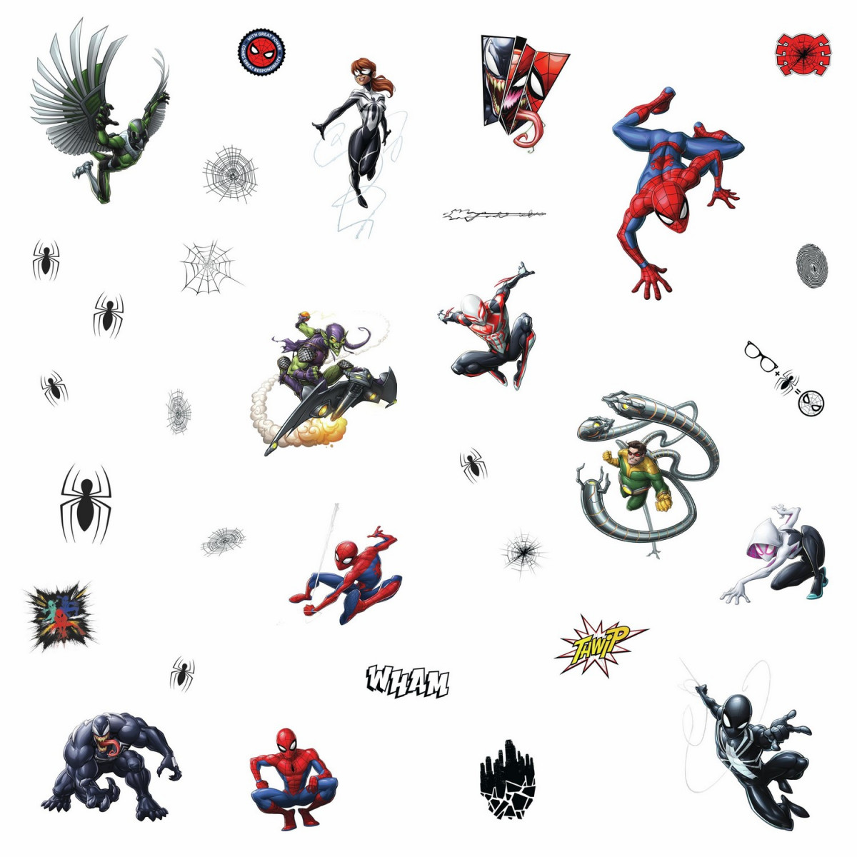 32 Stickers Personnages Spiderman Marvel