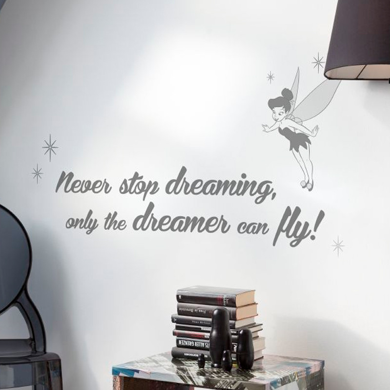 "Stickers phrase Fée Clochette ""Never Stop Dreaming"" Disney"
