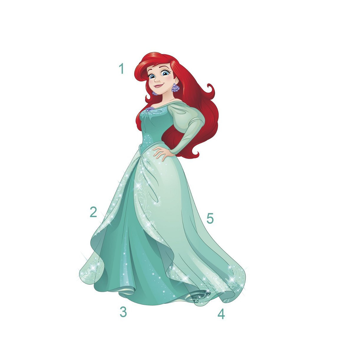 Stickers Princesse Ariel Disney H 92 CM