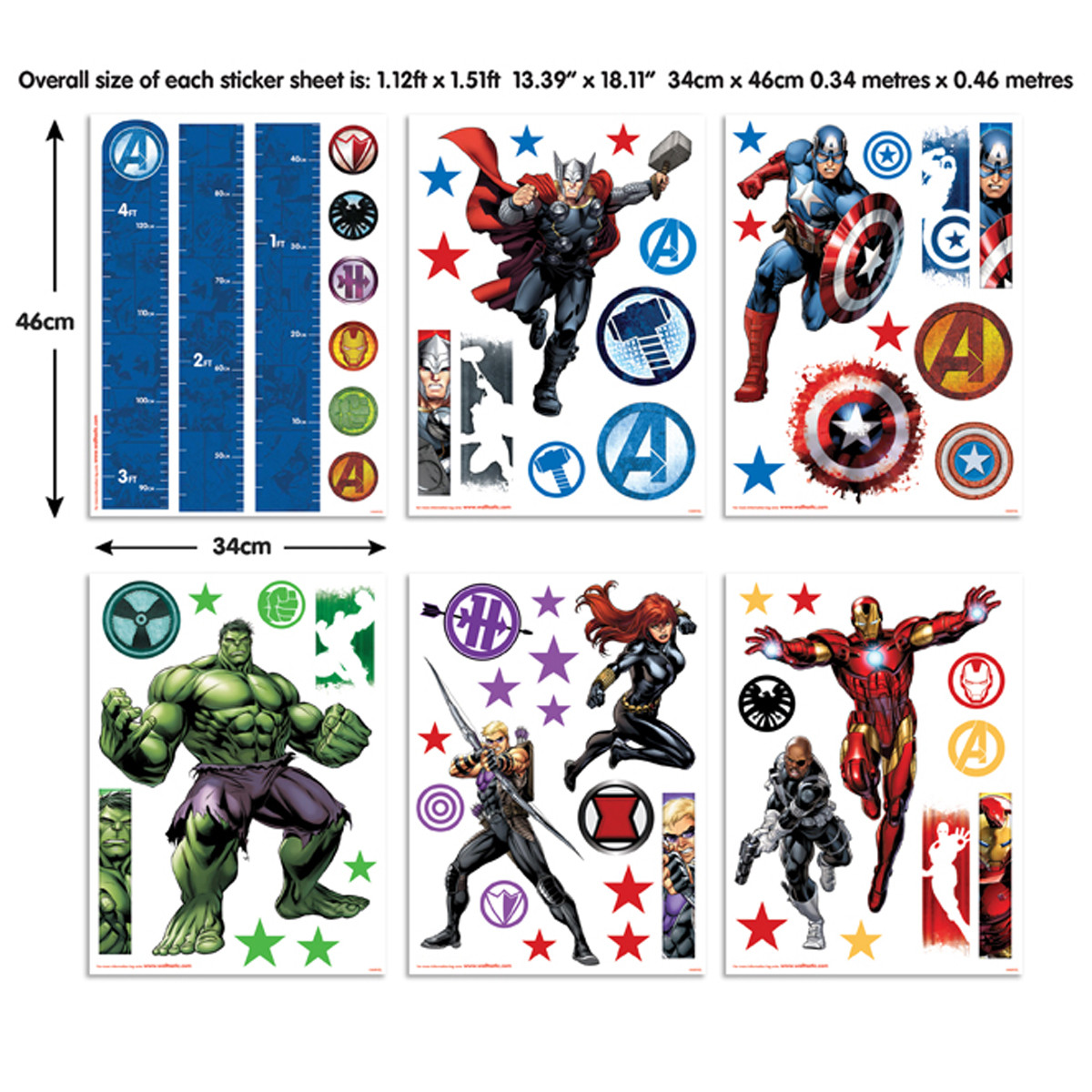 66 Stickers Avengers Marvel Walltastic