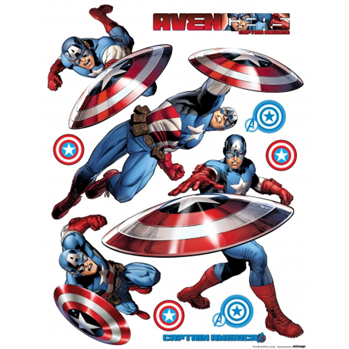 Stickers géant Captain America Marvel Postures