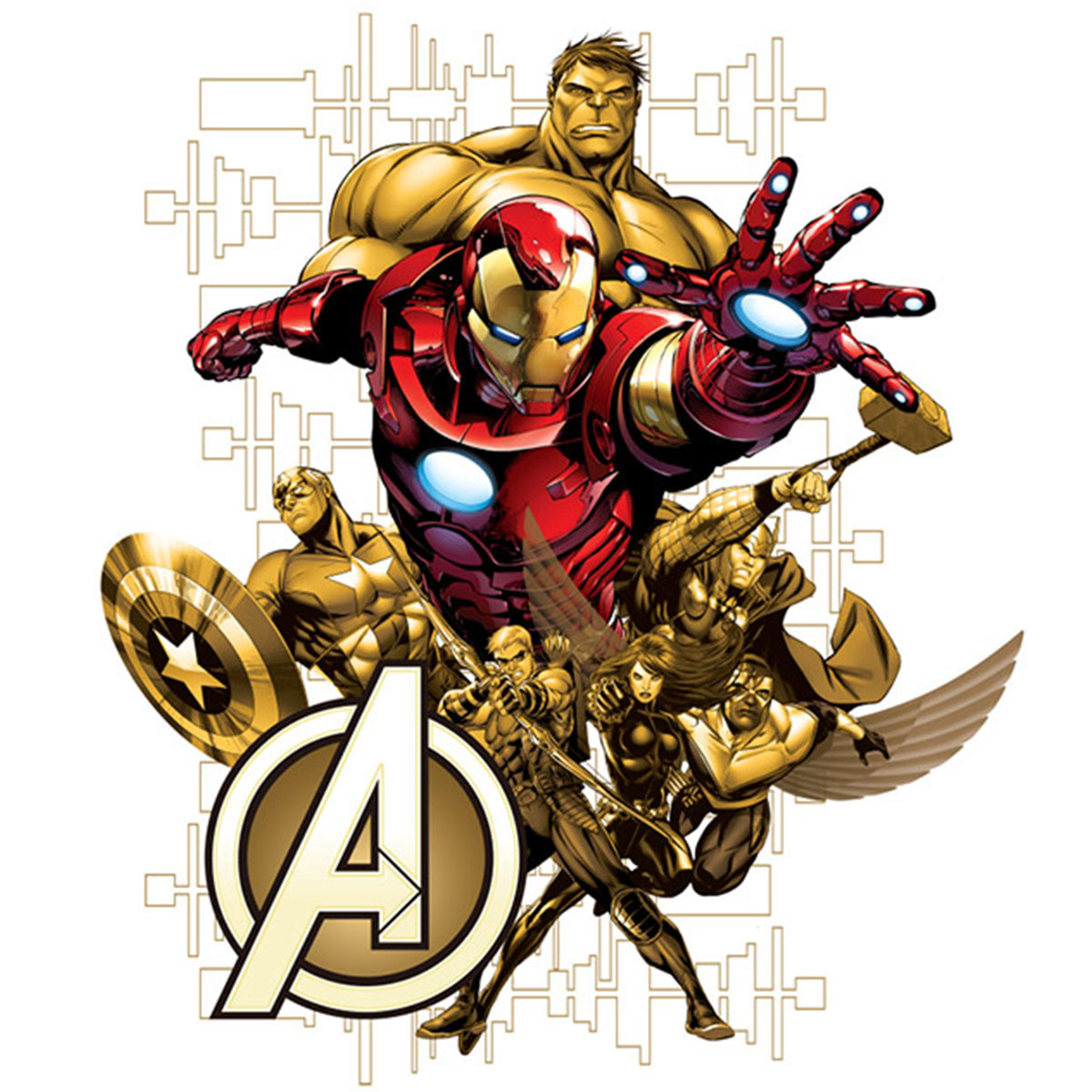 Stickers géant Avengers Marvel Rouge & Doré