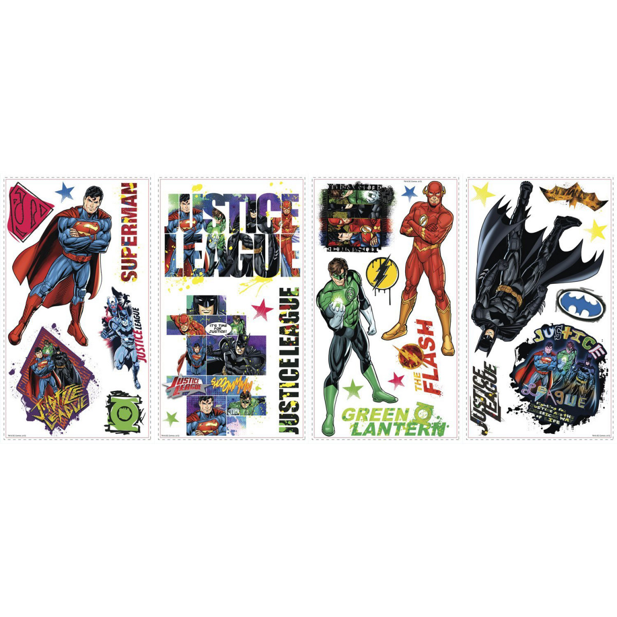 Stickers repositionnables Justice League DC Comics  25,4CM x 45,7CM