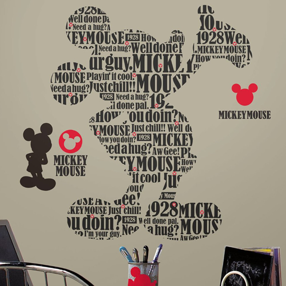 Stickers Géant Mickey Mouse Typographique Disney