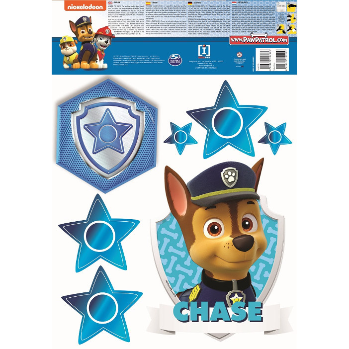 4 Stickers Chase Pat Patrouille  13.5X 32.5 CM