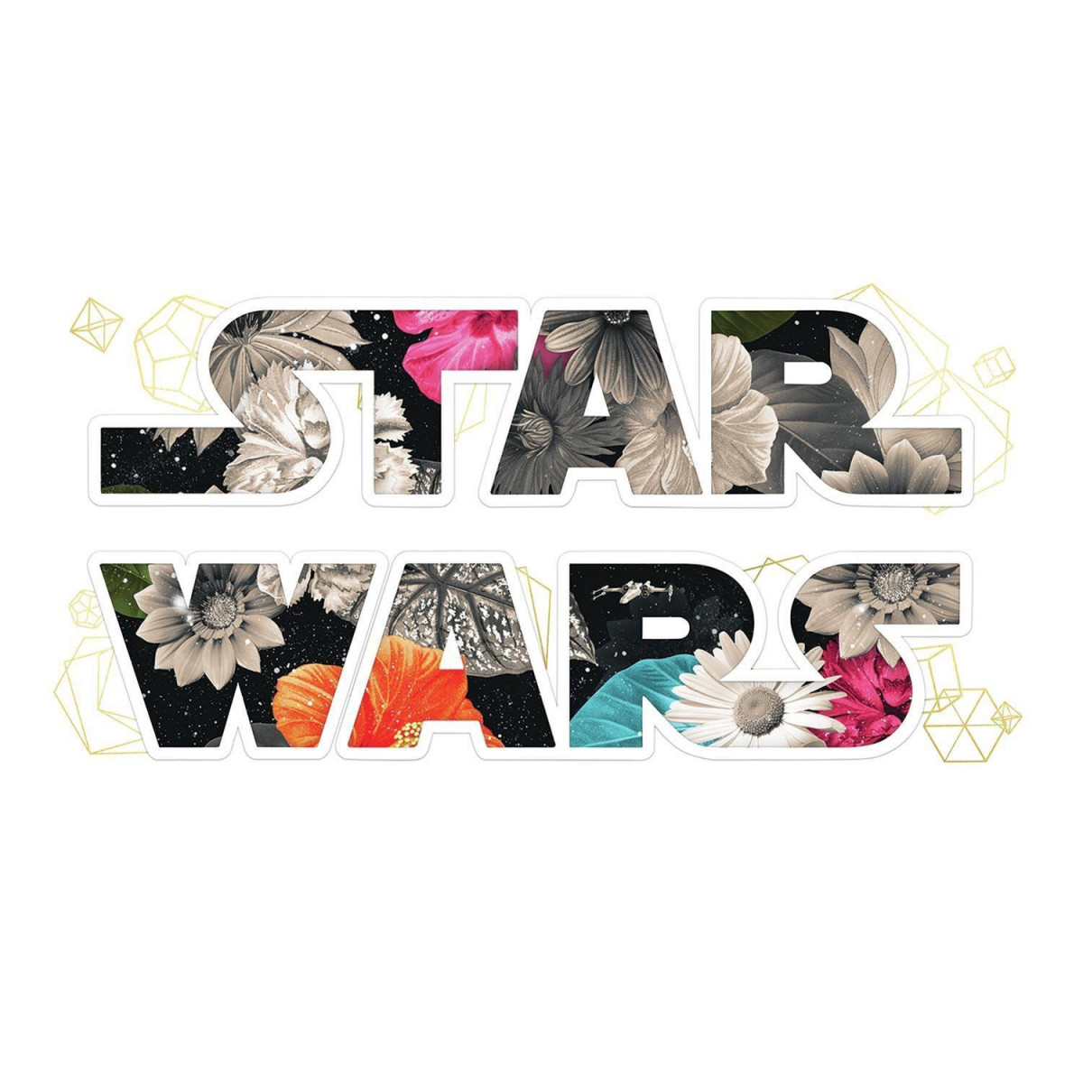 Sticker Repositionnable Star Wars Logo Star Wars avec fond fleurs 21,9CM X 92,7CM