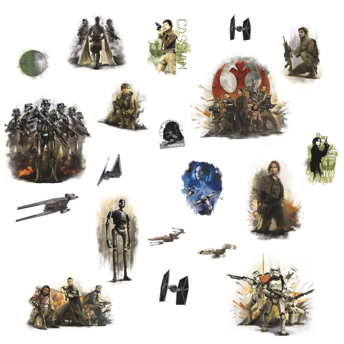 Stickers repositionnables Star Wars Rogue One 25,4CM X 45,7CM