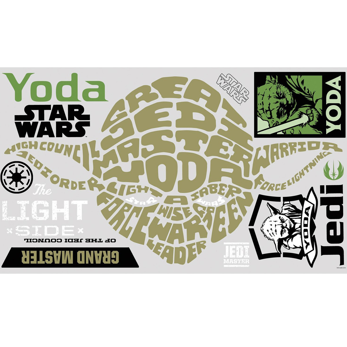 Stickers Géant Yoda Typographique Star Wars