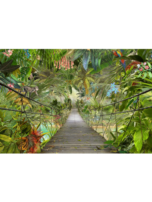 Papier Peint Photo Murale Pont dans la Jungle 368x254 CM