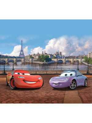 Voilage XL Cars Motifs Flash Mc Queen et Sally Carrera à Paris de Disney 180X160 cm