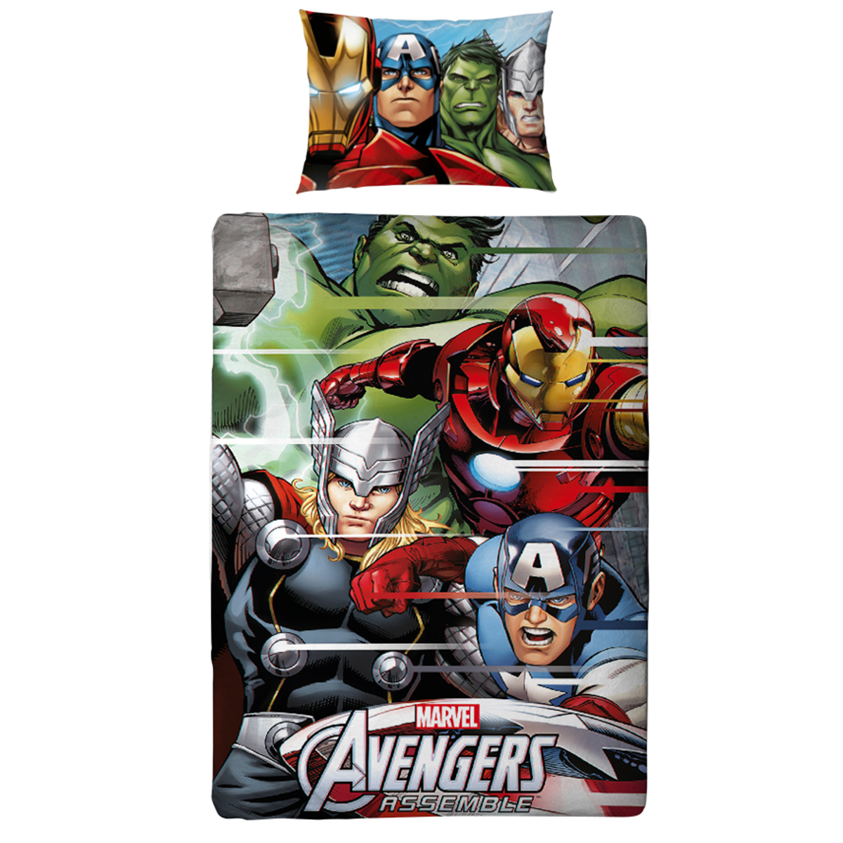 housse de couette marvel avengers team 3d parure de lit. Black Bedroom Furniture Sets. Home Design Ideas