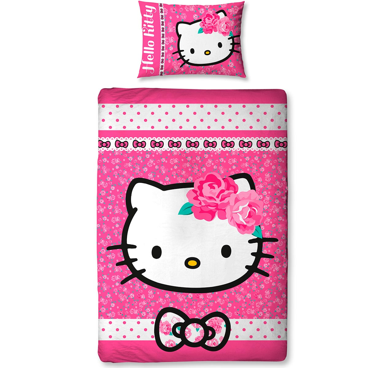 Neuf parure de lit reversible hello kitty sommerwind for Housse couette hello kitty