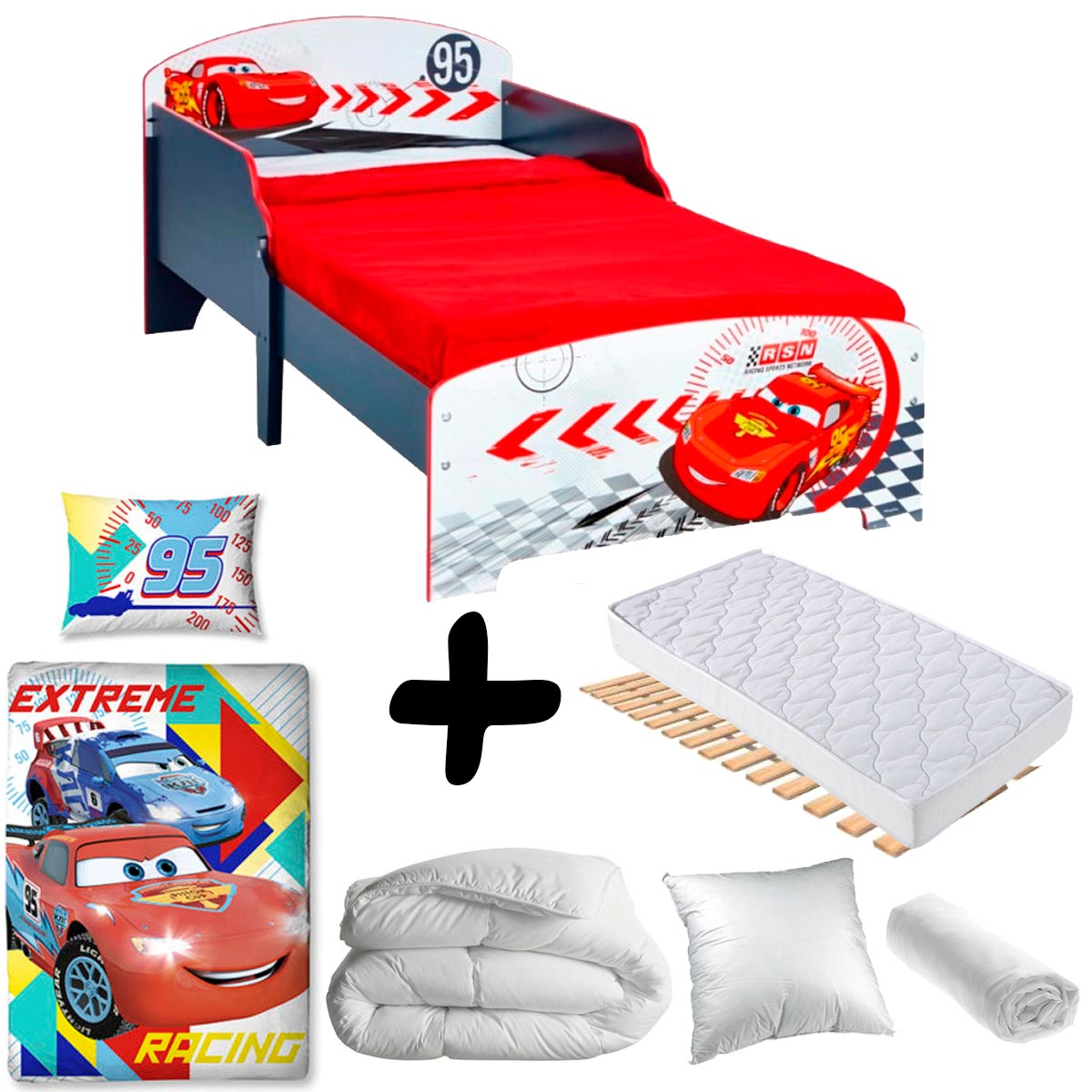 pack complet premium lit enfant cars disney litmatelas. Black Bedroom Furniture Sets. Home Design Ideas