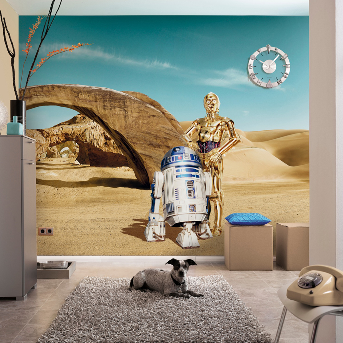 star papier peint r2d2 c3po wars 368 x 254 cm. Black Bedroom Furniture Sets. Home Design Ideas